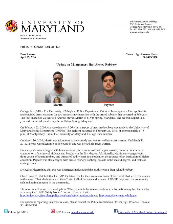 Umpd Hall Release Montgomery News Robbery Armed Press Update On Incident